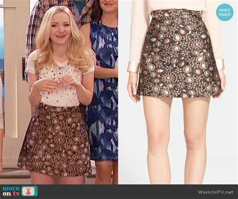 Camerons Kinda Sorta Dress by Wornontv Liv S Gold Paisley Skirt And Pearl Studded Top