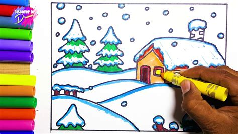 draw and color how to draw snow season learn to draw and color winter