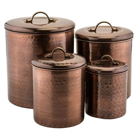 copper canister set kitchen old dutch 4 piece hammered antique copper canister set