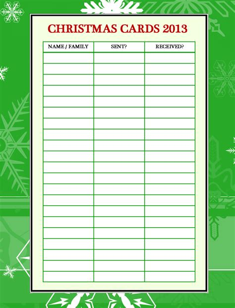 printable holiday card list emjay s course christmas card organizer printable