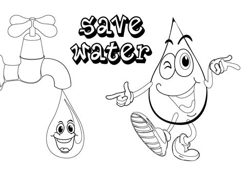 Coloring Page Saving Water | free coloring pages of save the water