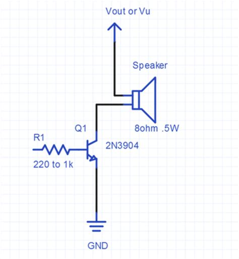 transistor driver circuit for buzzer using a speaker for audio output mbed