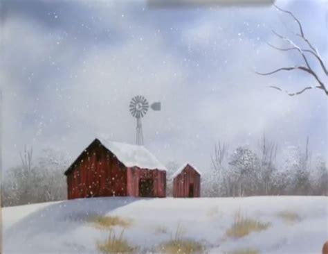 bob ross painting a barn december barn part 1 from the set of wilson bickford s