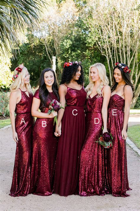 color bridesmaid dresses wine colored sequin floor length a line boho