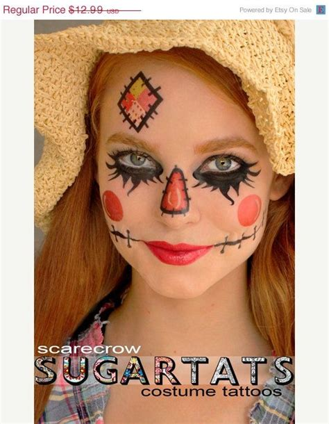 halloween face tattoos 3 00 sale scarecrow temporary tattoos costume