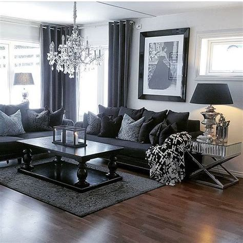 black sofa grey walls gray walls black furniture living