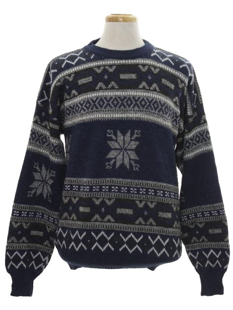 Snow Knit Top Khaki Blue 30505 retro eighties sweater 80s vintage ashford mens heathered slate blue olive green white