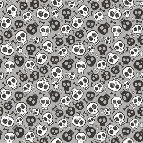 skulls and bones halloween black & white on grey tiny