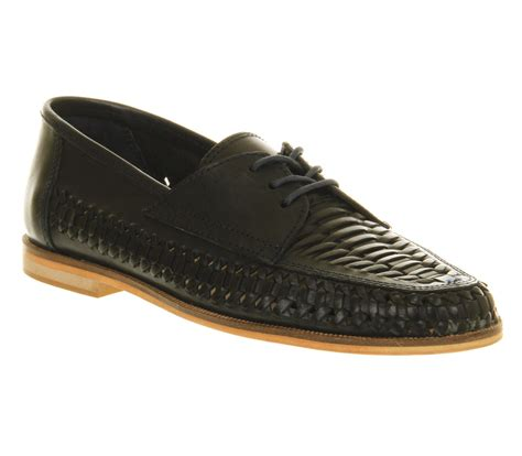 mens office newington weave lace up navy leather casual