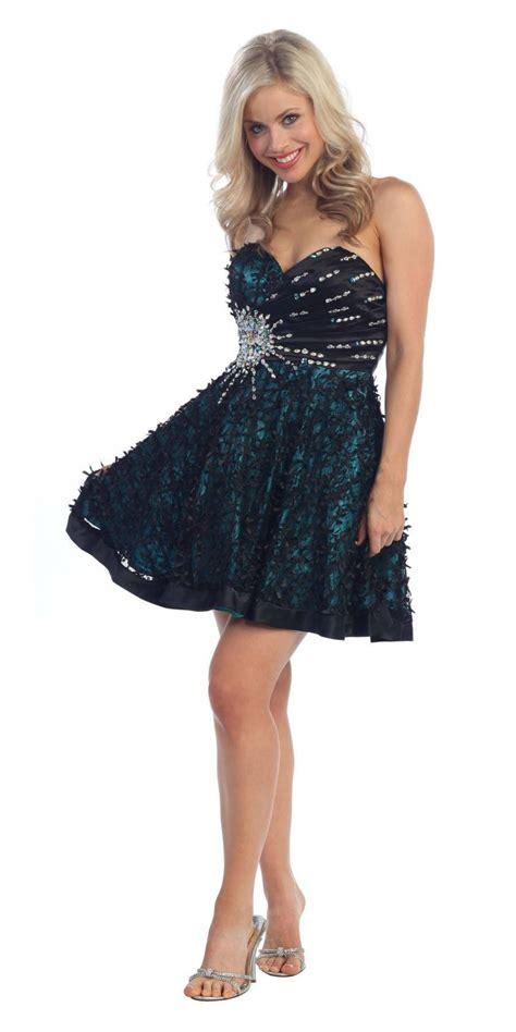 Dress Anabel 563 on special limited stock lace overlay black teal dress a discountdressshop