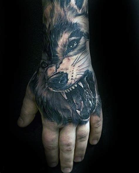 full hand wolf tattoo 40 unique hand tattoos for men manly ink design ideas