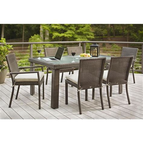 Wicker Patio Dining Sets Hton Bay Beverly 7 Wicker Outdoor Patio Dining Set With Beverly Beige Cushions 65