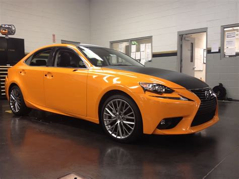 lexus wrapped 2015 isx50 vinyl wrapped in orange with carbon fiber wrap