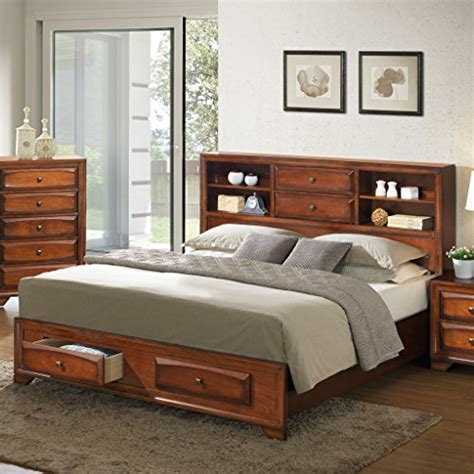 oak queen bed roundhill furniture asger antique oak finish wood queen