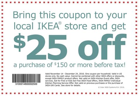 Ikea Printable Shopping List | rare ikea coupon 25 off your 150 purchase norcal