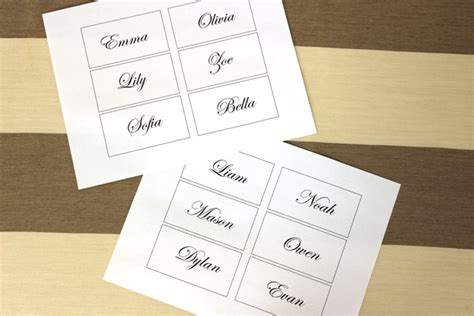 place card printing template easy and diy flower place cards for your wedding