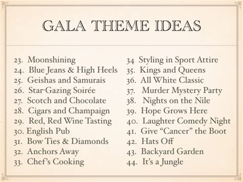 gala themes names gala theme ideas for 2017 for fundraising fun impact