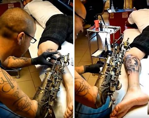 Tattoo Machine Arm | french artist gets a prosthetic arm that s a tattoo