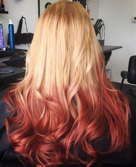 red and blonde ombre pictures reverse ombre blonde to red hair pinterest thick