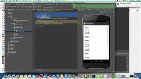 tutorial with android studio android studio simple listview development tutorial youtube