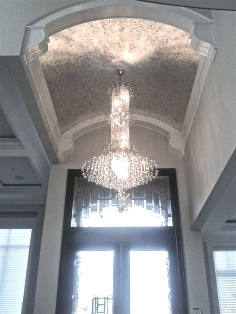 vaulted ceiling silver leaf glided finish contemporary entry vancouver  artestudio  bespoke fine art finishes