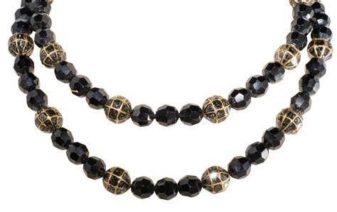 black bead necklace faceted black spinel and black bead necklace at