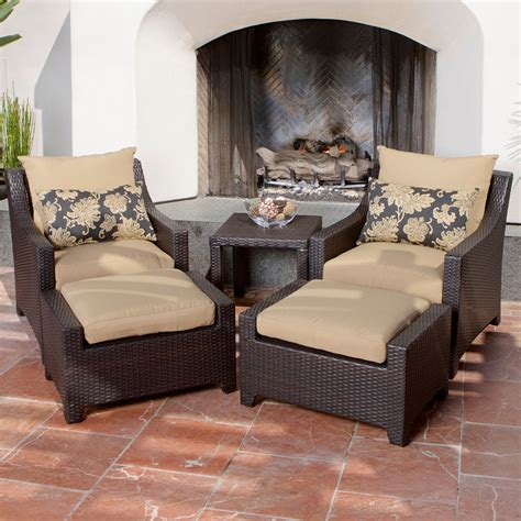 Delano 5 Piece Outdoor Chair And Ottoman With Side Table Outdoor Chair Ottoman Set