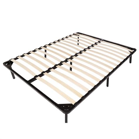 queen size detachable large wood slats metal bed frame