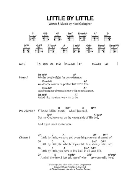 Little By Little sheet music by Oasis (Lyrics & Chords