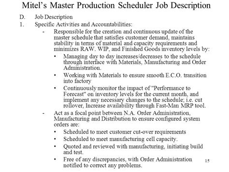 planner scheduler job description project scheduler job