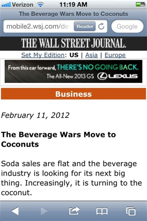 wsj mobile site lexus taps wall journal readers through mobile ads