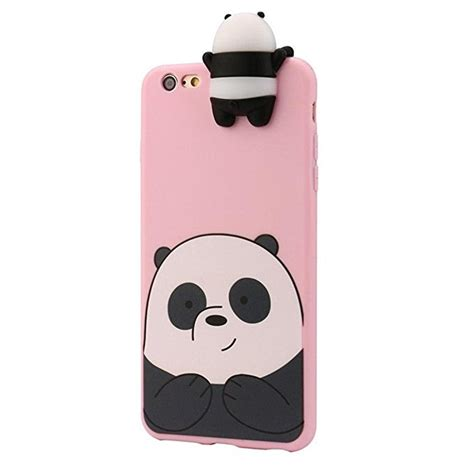 Casing Iphone 7 3d Panda 2018 3d animals bare bears soft silicone