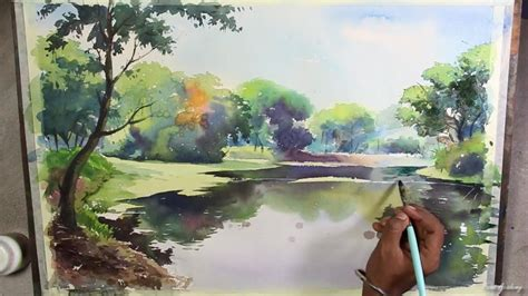 how to water color watercolor landscape painting speed
