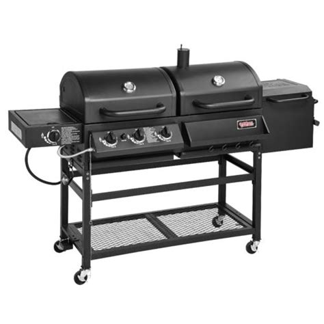 Grill Combo hybrid gas and charcoal grill bbq smoker box combo barbeque burner side portable ebay