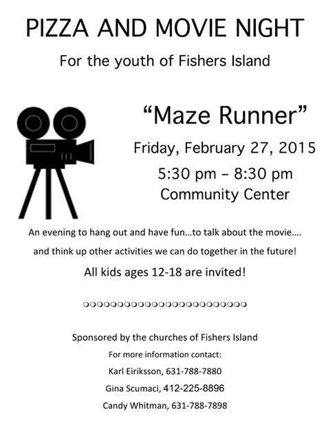 Pizza and Movie Night: Maze Runner ? FishersIsland.net
