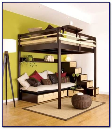 Queen Size Loft Bed Frame For Adults Bedroom Home Size Loft Bed Frame