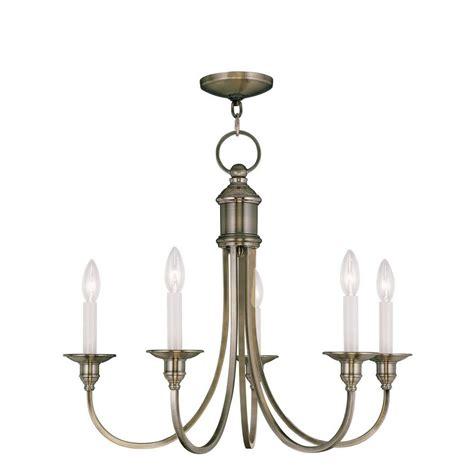 Ceiling Chandelier Lighting Livex Lighting Providence 5 Light Antique Brass Incandescent Ceiling Chandelier 5145 01 The