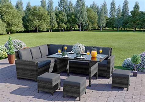 abreo  seater rattan corner garden dining set furniture