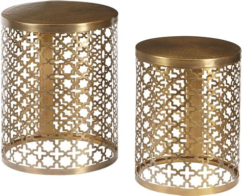 accent table set round perforated metal brass accent table set of 2 from