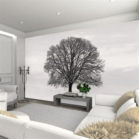 1 wall silhouette black and grey tree wallpaper mural