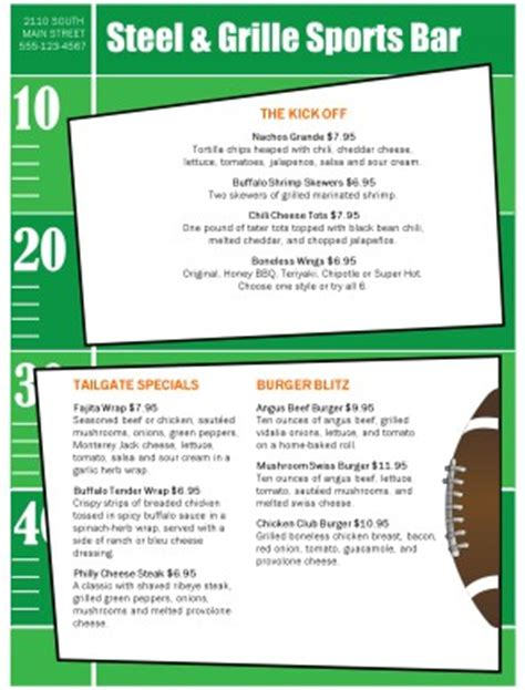 football menu templates bar football menu sports bar menus