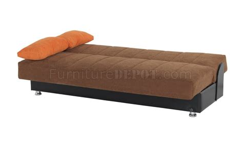 sofa bed convertible in brown microfiber by