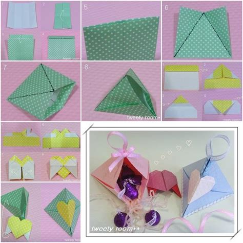 Origami Birthday Box - diy origami triangle lock gift box