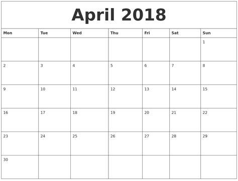 printable calendar monday start april 2018 calendar