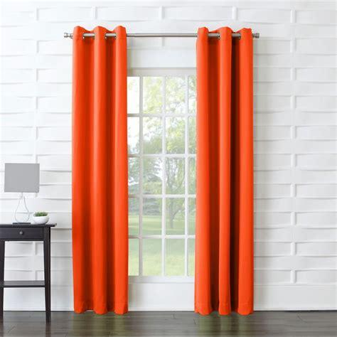 Orange Linen Curtains Sun Zero Semi Opaque Tovi Tangerine Room Darkening Curtain Panel 40 In W X 63 In L 45798