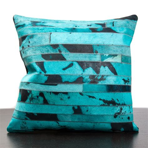 Cheap Cowhide Pillows by Turquoise Cow Hide Pillow Inc Pillows Touch Of