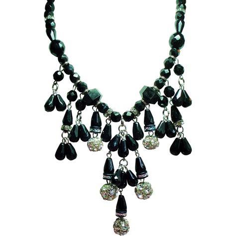 vintage dauplaise faceted black glass bead rhinestone