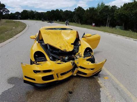 yellow porsche lil on crash causes unique porsche flatsixes