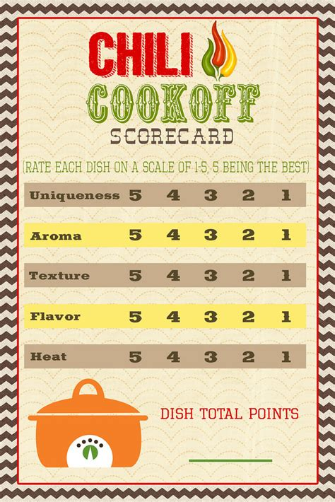 printable judging cards a pocket full of lds prints chili cook off scorecard
