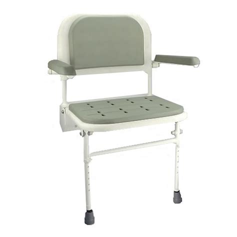 wall mounted padded shower bench wall mounted shower seat with padded arms elite care direct